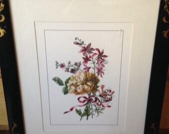 handcolored watercolor in handpainted frame