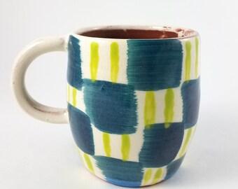 Blue and Green Checkered Ceramic Mug