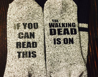 Walking Dead Fan Unisex Thermal Socks TWD TV Show Zombies If You Can Read This