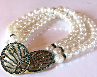 vintage rhinestone faux pearls necklace 1980's