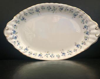 "Vintage Royal Albert Fine China tray ""Memory Lane"" Pattern for creamer 20 1/4 inches long."
