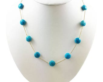 """Station Necklace """"Tin Cup """" 14Kt. Solid Yellow Gold with Genuine Turquoise, 17"""""""