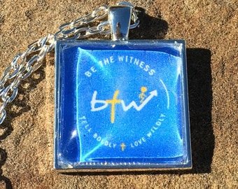 "Christian Necklace. ""Be the Witness Logo"" Glass Pendant Necklace on 24"" Chain. Royal Blue."