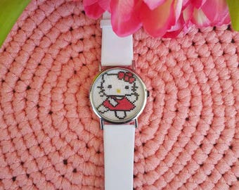 Watch necklase embroidered or cross stitched