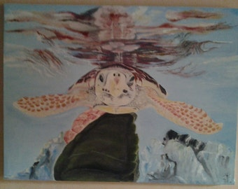 Sea Turtle Oil Painting