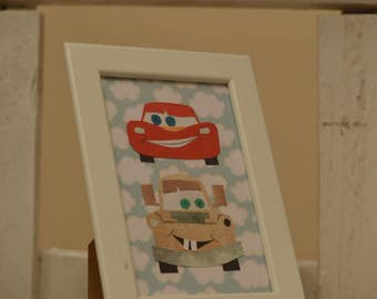 Disney Cars/Lightning McQueen/Mater/Handmade/ Car Illustration/Paper Craft/Gift/Wall Art/Toddler/Baby Room/Children/New Baby/Birthday