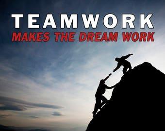 TEAMWORK, Motivational quotes, motivational poster, motivational wall decor, motivational art, inspirational quotes (JS1426)
