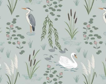 Down by the Riverside, Swan and Heron on light blue fabric by Lewis & Irene