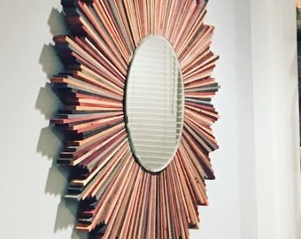 Multi-Colored Wood Starburst Mirror - **US Shipping Included!