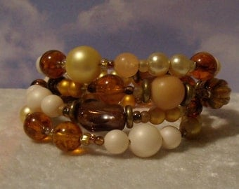 Autumn Memories  vintage handmade memorial wire bracelet