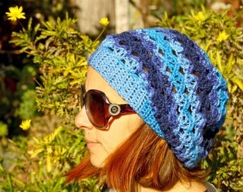 Crochet women slouchy hat, shades of blue