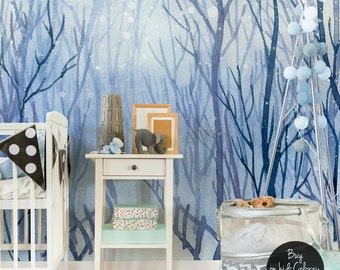 Beautiful winter landscape walll mural || Winter forest wallpaper || Blue and tender white wall decor || Removable #52