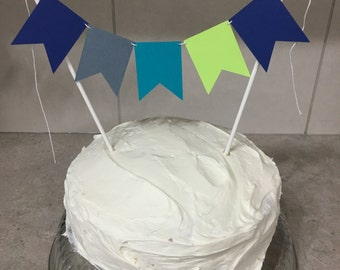 Cake Banner, Cake Bunting Banner, Boy Cake Topper, Cake Decoration, Green, Blue, Grey