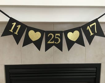 Custom Date Banner, Wedding Date Banner, Save the Date Banner, Due Date Banner, Photo Prop