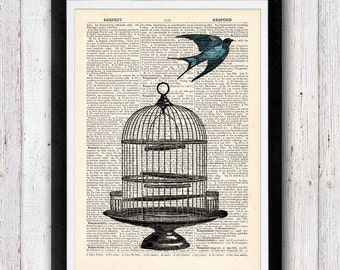 Flying High Freedom vintage dictionary page book art print