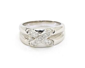 14K White Gold Sparkling 0.35 CTW Diamond Cross Over Band Ring - 7.2 Grams