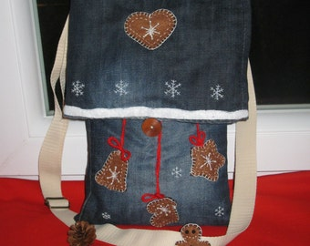 Felt Gingerbread Jeans Bag, Denim Shoulder Bag, Jeans Shoulder Bag, Denim Handbag, Jeans Handbag, Recycled Denim Bag, Recycled Jeans Bag