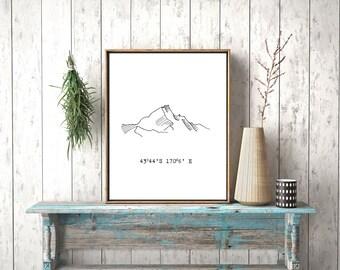 Mount Cook minimalist print instant download printable art