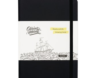 Coloring Notebook, Blank, Black (5.83 × 8.27)
