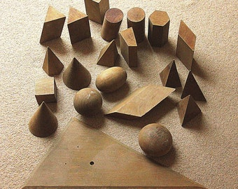 Vintage Mathematical Figures / - Bodies of various shapes and sizes. Solid wood.