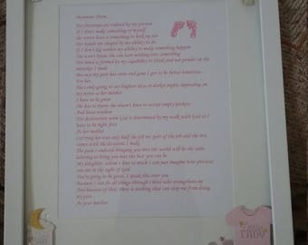 Baby Girl Plaque with Personal Poem