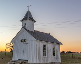 The Little Church At Sunset  Fine Art Print, Texas photography, Catholic Church, Sunsets, Warrenton