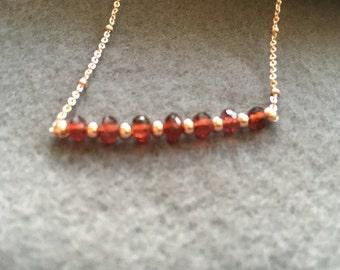 Garnet and rose gold bar necklace / choker