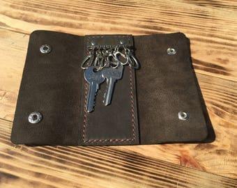 Wallet keychain, Key holder wallet, Keychain organizer, Designer keychain wallet,Wallet key,Snap key case,Leather keychain holder,Dark brown