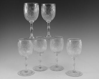 "John WALSH WALSH Crystal - INTAGLIO Cut - Set of 6 Sherry Glasses - 4 5/8"""