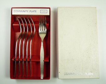 ONEIDA Community - SILVER SANDS Pattern - Dessert Forks - Boxed Set of 6
