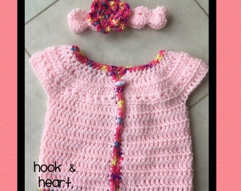 Crocheted Baby Cardigan and Headband Set, Pink with Mixed Colour Edging and Flower (3-6 months)
