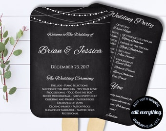Chalkbaord Wedding Program Fan Template - Rustic Wedding Program Fan - DIY Wedding Program Fan - String Lights Wedding fan program