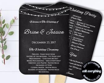 Chalkbaord Wedding Program Fan Template - Rustic Wedding Program Fan - DIY Wedding Program Fan - String Lights Wedding fan program