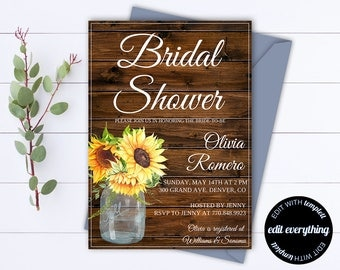 Rustic Bridal Shower Invitation - Country Bridal Shower Invite - Printable Invitation - Rustic wedding shower invite - Sunflowers