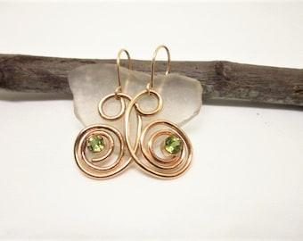 Brilliant PERIDOTS Set in 14 K GOLD Fill Earrings