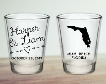Custom Florida Wedding Favor Shot Glasses