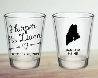Custom Maine Wedding Favor Shot Glasses