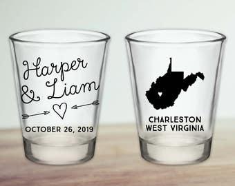 Custom West Virginia Wedding Favor Shot Glasses