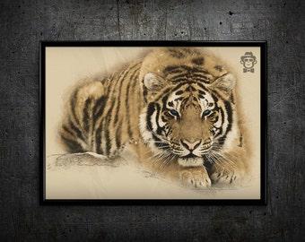 Tiger print Tiger drawing print Tiger drawing home decor wall art