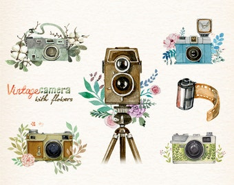 Camera, Watercolor camera, retro camera, Flowers & Cameras, photocamera, film, boho, floral, vector clipart