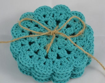 Crochet Coasters Set in ocean blue
