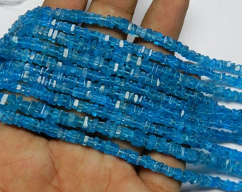 """High Quality Natural Neon Apatite Heishi Square Beads 4 MM Size AAA Quality 16""""inch Long Strand Square Heishi Beads Apatite Gemstone V10"""