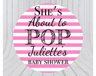 About to pop stickers, she's about to pop, baby shower stickers, baby shower favour, popcorn favour stickers, 031 - Pink