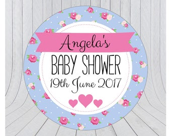 Baby shower stickers, baby shower favour stickers, Baby shower labels, personalised baby shower stickers, BLUE 079
