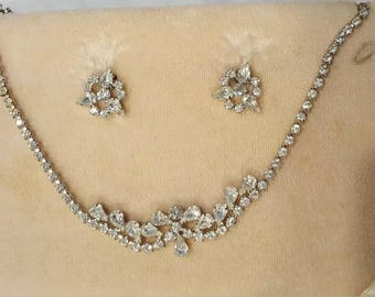 Vintage B.David Crystal Necklace and Earrings in Original Box