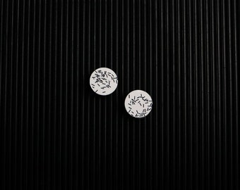 ISLA Jesmonite Modern Circle Stud Earrings in Black or White (Minimal, Graphic, Statement, Bold, Designer, Architectural)