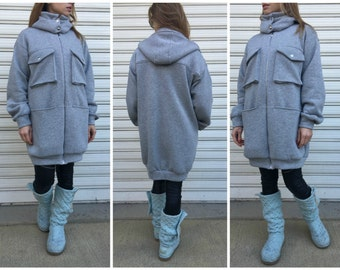 """Hooded Oversize Women Coat / Grey Maxi Jacket with Pockets and Hoodie / Warm loose Sweater Coat - """"Midnight Call"""""""