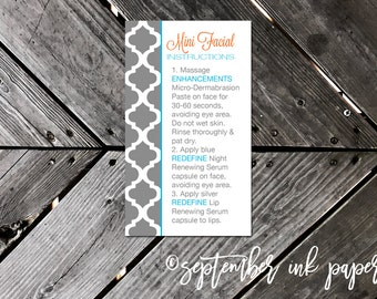 Rodan + Fields Mini Facial Instruction Business Card