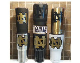 YETI - Authentic Notre Dame UND Fighting Irish Yeti Cup Mug 20 oz 30 oz custom unique fan grad student gift idea 30oz 20oz Fightin Nd alumni