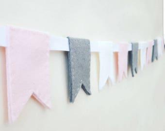 Pink nursery bunting, nursery garland, flag bunting, pink garland, pink nursery garland, felt garland, fabric bunting, pink bunting